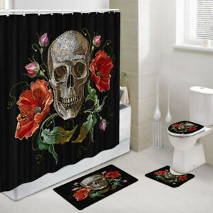 Skull and Red Flower Shower Curtain Toilet Cover Rug Bath Mat Contour Rug Set