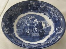 19th C Wedgwood Bowl featuring Boats in Harbour