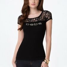 Bebe Lace Top Tease Rhinestone Logo Black Shirt #2005P Plus Sizes 1X 2X 3X - R13