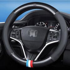 For Honda Car Steering Wheel Cover Anti-Slip Carbon Fiber Leather Wrap Universal
