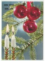 Navidad Foto Tarjeta Postal Años 60 Decoraciones Árbol Bolas Vidrio Velas Acebo