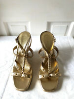 Boutique 9 Nine West Women's Gold Open Toe Slingback Wedges Sandals Size 8
