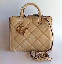 CAROLINA HERRERA Lambskin Leather CH Logo Charm Quilted Tote Bag HandBag NWT