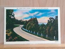 Linen post card, Road Along the Blue Ridge Mountains