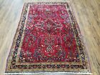 Antique Oriental Area Rug Hand Knotted Wool Red Nice 3x5 Allover Floral Pattern