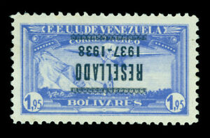 VENEZUELA 1937 AIRMAIL - INVERTED OVERPRINT - 1.95b ultra Sc# C73a mint MLH