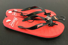 Budweiser Flip Flops MENS Small 7/8 Beer Sandals Red Black Straps Logo Thong NEW