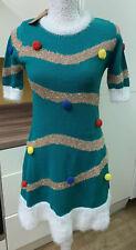Primark Christmas Tree Jumper Dress & Hat green pom pom Size 2XS 4-6 NEW