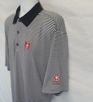 FootJoy Mens XL Black White Stripe Polyester Spandex Polo S/S Golf Shirt  FJ