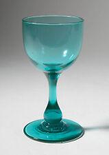 Antique Victorian Green Vaseline Wine Glass with Baluster Stem - UV Reactive