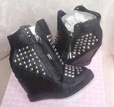 First Love by Penny Loves Kenny Black High top Wedge Sneakers wink sz 8 new