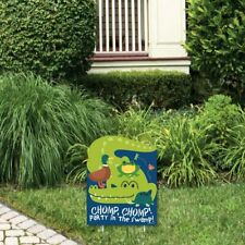 Big Dot of Happiness Pond Pals - Outdoor Lawn Sign - Frog, Alligator, Turtle.