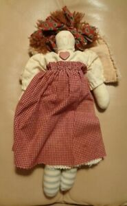 "Country Folk Art cloth Doll Angel wings 12"" handmade"