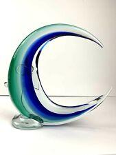 """Murano Half Moon Sculpture 11"""" X 11"""" Cobalt Blue Green Art Glass"""