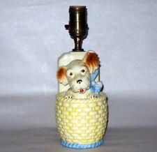 "Vintage Japan Ceramic Adorable Puppy in Basket w Blue Ribbon 9 3/4"" Table Lamp"