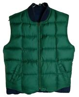 Eddie Bauer Men M Reversible Goose Down Blue Green Vest Full Zipper Vest