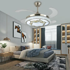 "42"" Modern Invisible Ceiling Fan LED Light Chandelier Lamp W/Remote Control New"