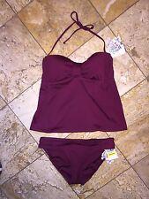 NWT $120 Becca Rebecca Virtue Burgundy Halter Tankini 2pc Swimsuit Set Women's M