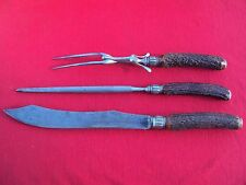 J Russell & Co Green River Works Stag & Sterling Carving Knife, Fork & Steel Set