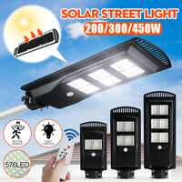 45000LM 450W 576 LED Wall Street Light Solar Panel Outdoor Garden Lamp+Control