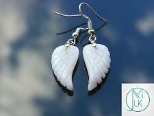 Ala de ángel de jade blanco Pendientes de Piedras Preciosas Cuarzo Chakra Curación de piedra natural