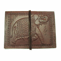Fair Trade Handmade Eco Elephant Design Embossed Leather Journal Notebook