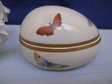 Limoges White Porcelain Egg Shaped Trinket Box w Butterflies & Gold Gilt Trim