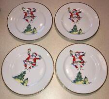 "4 Porcelain Rosanna Santa 7 7/8"" Salad Christmas Present Plates Retro Italy"