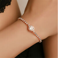 Heart Love Round Fashion Bracelet Women Crystal Rhinestone Chain Bangle Jewelry