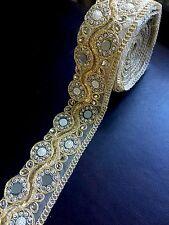 "1 meter gold 2.5"" diamante lace trim mirrors beads stone ribbon border edge sew"