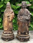 Pair Of Vintage Resin Carved Signed Chinese Oriental Decorative Figures