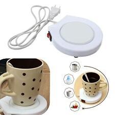 White Electronic Powered Cup Warmer Heater Pad Coffee Milk Mug US Plug SS CA #02