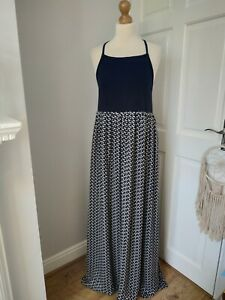 New Orla Kiely 12 Silk Aeroplane Come Fly With Me Maxi Dress Black White Lined