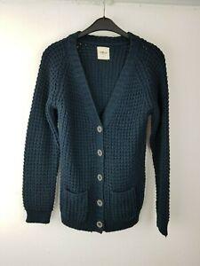 We Love Knit dicke Damen Strickjacke Cardigan Wolle Pullover Jacke Gr. L blau