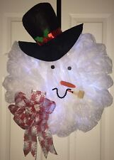 FLUFFY SNOWMAN LIGHT UP WITH CORN PIPE DECO MESH WREATH FREE SHIPPING!!