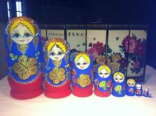 russian nesting doll Set Of 10 Hand made 10.5 inchs tall Blue US Seller