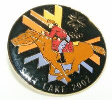 Salt Lake City 2002 Olympic Games Logo Pin on Card - Galloping Cowboy on Horse