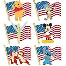 Disney Old Glory Mickey Mouse Pooh Donald Duck Stitch Chip Dale Jiminy Pin Set