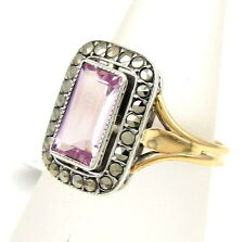Vintage 14k Yellow Gold Sterling Silver Pink Topaz & Marcasite Ring Sz 7 | FJ AM