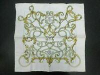 Auth Excellent HERMES Petit Scarf 100% Silk L'INSTRVCTION DV ROY Beige 90355