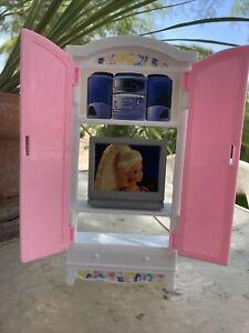 Vintage 1996 Barbie TV Stereo Entertainment Center Armoire