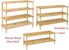 2 3 4 TIER SHOE RACK ORGANISER SLATED NATURAL WOOD FOOTWEAR STAND STORAGE SHELF