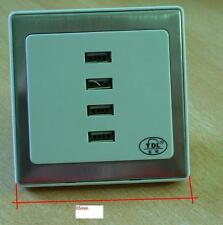 USB Steckdose 4 fach Tablet Smartphone laden Edelstahl Rahmen Unterputz edel