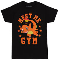 Pokemon Charmander Meet Me At The Gym Black Men's Graphic T-Shirt New