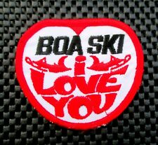 "BOA SKI EMBROIDERED SEW ON PATCH I LOVE YOU RACING SNOW MOBILE 3 1/2"" x 3"""