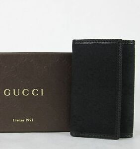 New Gucci Unisex Black GG Canvas Trifold Key Chain Ring Holder 04564R 1000