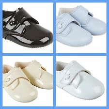 Baby Boys Baypods First Pram Shoes - Gibson With Button Strap Design White UK 1