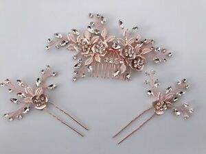Women Boho Rose Gold Crystal Leaf Bride Night Hair Comb hair accessory Clip Pin