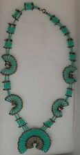 Hand Made Squash Blossom Style Faux Turquoise Safety Pin Necklace