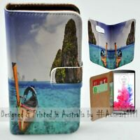 For LG Series - Thailand Beach Theme Print Wallet Mobile Phone Case Cover